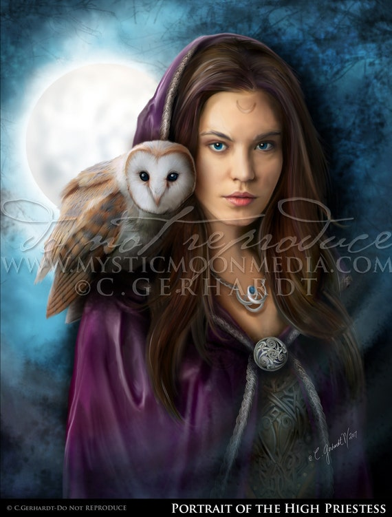 High Priestess Art Print Pagan Art Wiccan Alter Art Print Wicca Owl Witch Art Fantasy Art Witchy Decor Witch Decor