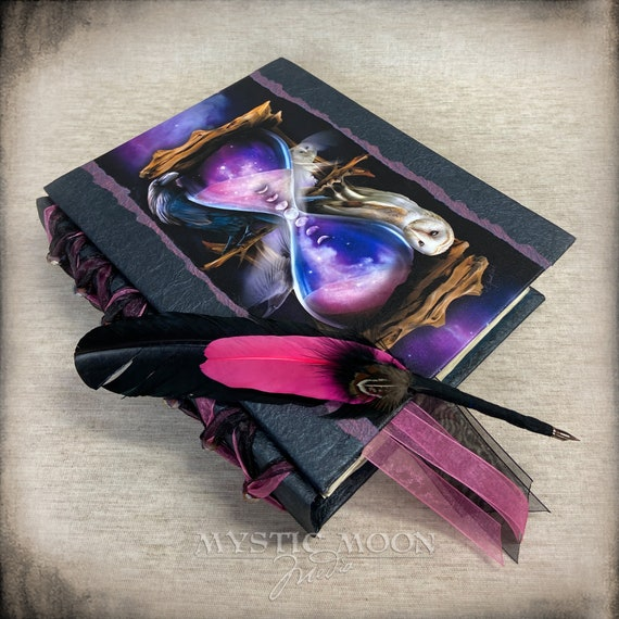 The Witching Hour Glass / Book of Shadows Journal / Wiccan / Pagan / Witchy / Stars / Handmade Journal /Quill / Binder / BOS / Spell Book