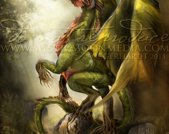Elemental Dragons Collection.. Earth Dragon... Matted Print... Fantasy Art...Forest Dragon ... Graceful