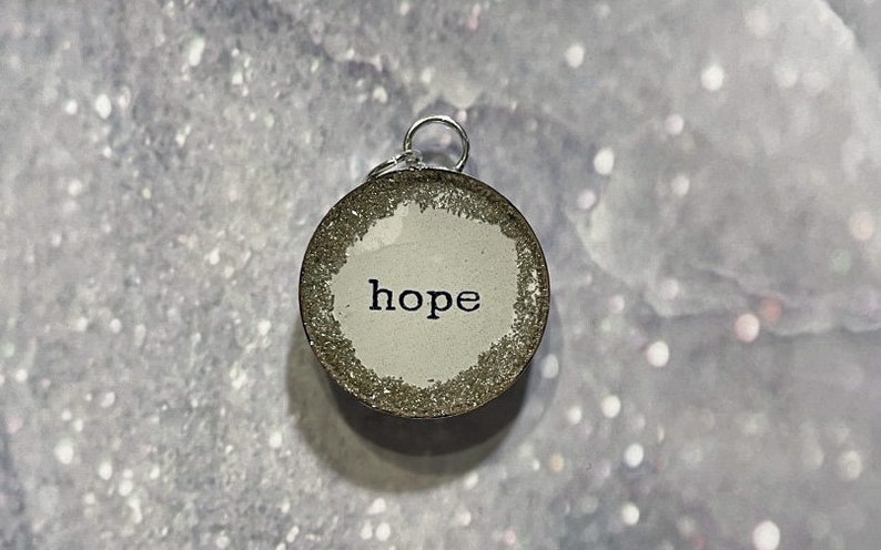 Resin Pendant Charm HOPE With Silver German Glass Glitter Round Soldering