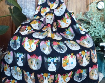 Flower Cats Tote - Shopping - Market Bag