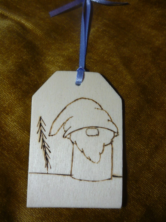 Swedish Inspired Tomte Gnome with Tree Wood Burned Sign Ornament