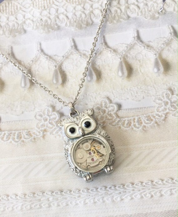 Silver Owl Necklace - STEAMPUNK OWL - Jewelry by BirdzNbeez -  Wedding Birthday Bridesmaids Gift