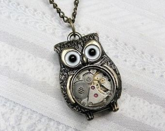 Brass Owl Necklace -  The ORIGINAL STEAMPUNK OWL Necklace - Owl Jewelry by BirdzNbeez - Valentine's Day Wedding Birthday Bridesmaids Gift