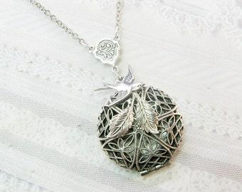 Silver Locket Necklace- Silver Nesting Bird SCENT LOCKET - The ORIGINAL - Jewelry by BirdzNbeez -  Wedding Birthday Bridesmaids Gift