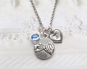 Silver Best Friends Necklace - Personalized Birthstone Initial - Pinky Swear Best Friend - Christmas Birthday Bridesmaid Bridal Friendship
