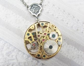 Silver Gold STEAMPUNK Necklace - Steampunk Gear Necklace - Jewelry by BirdzNbeez - Wedding Birthday Bridesmaid Gift