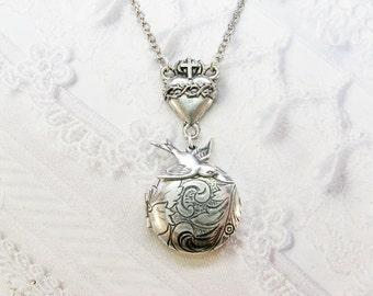 Silver Locket Necklace - The ORIGINAL Silver SACRED HEART Locket Necklace - Corazon - by BirdzNbeez - Bridesmaids Wedding Birthday Gift
