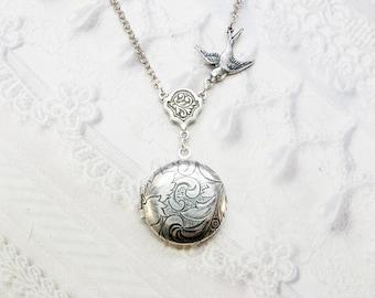 Silver Locket Necklace - Little BIRD LOCKET - Miniature Locket - Baby Locket - Jewelry by BirdzNbeez - Wedding Birthday Bridesmaids Gift