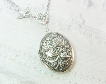 Silver Locket Necklace - The ORIGINAL Silver ROSE LOCKET- Jewelry by BirdzNbeez -  Wedding Birthday Bridesmaids Gift