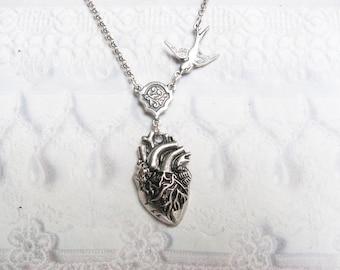 Silver Heart Necklace - The ORIGINAL Corazon ANATOMICAL HEART Necklace - Jewelry by BirdzNbeez - Wedding Birthday Bridesmaids Gift