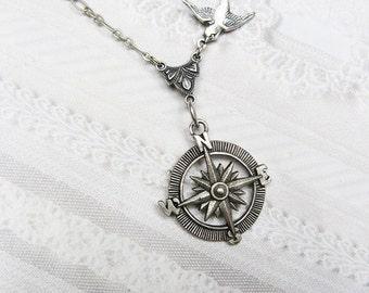 Silver Compass Necklace - GRADUATION Silver Guidance - STEAMPUNK Graduate Gift Wedding Birthday Bridesmaids Gift