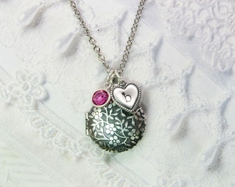 Silver Locket Necklace - Personalized Birthstone Locket - The ORIGINAL  Mommy Locket - Daughter Mothers Bridesmaids Grandmother