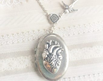 Silver Locket Necklace - The ORIGINAL Corazon Anatomical HEART LOCKET - Jewelry by BirdzNbeez - Wedding Birthday Bridesmaids Gift
