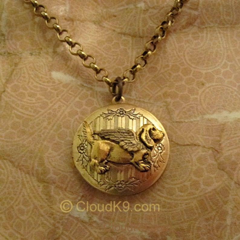 Basset Hound Angel Pendant Jewelry Sterling Silver Handmade Dog Pendant BAS8-AP