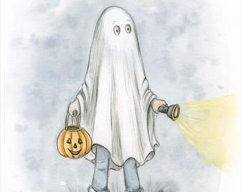 Tiny Ghost Art Print Childrens Halloween Print