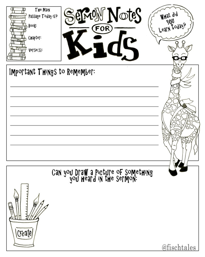 Kids Sermon Notes Drawing Page Bible Journaling