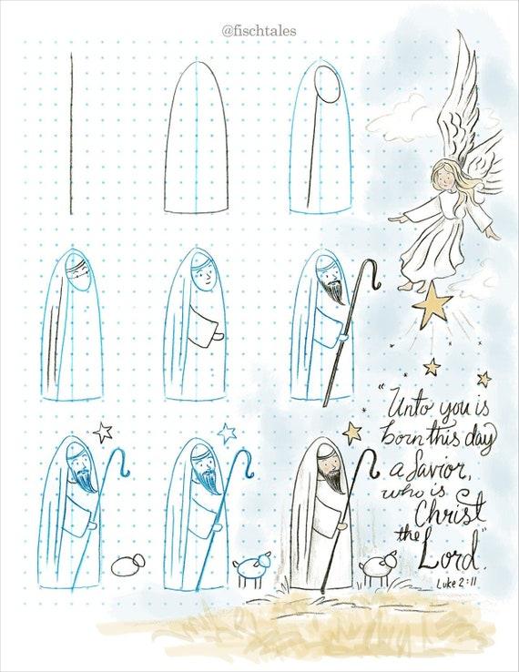 The Christmas Shepherd.How To Draw Tutorial The Christmas Shepherd