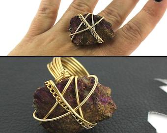 Purple Fuschia & Gold Ring that Rocks size 10