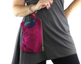 Fuchsia Purple Teal & Gray Suede Leather Bracelet Purse -eco repurposed leather