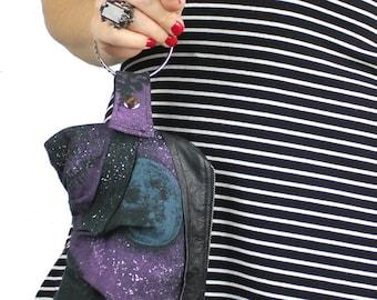 Full Moon Starry Night Bracelet Purse - repurposed vintage tshirt
