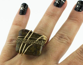 Moss Green & Brown Marble Stone Ring that Rocks US size 6 1/4