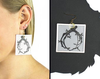 Olive Branch Hand Drawn Square Frame Earrings