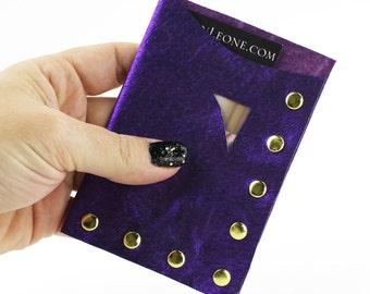 Metallic Purple Leather Studded Wallet / Business Card Holder