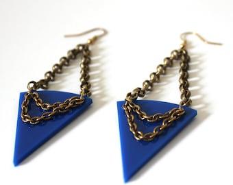 Royal Blue and Gold Triangular Earrings / Blue Triangle Earrings / Light Weight Earrings / Edgy Geometric Earrings / Eco Friendly Earrings