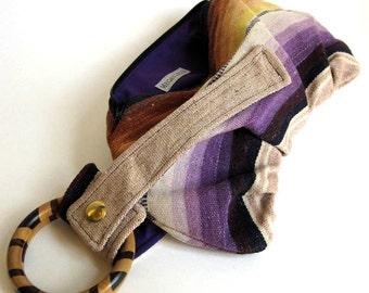 Santa Fe Purple Sand & Mustard Bracelet Handbag Clutch - navajo blanket