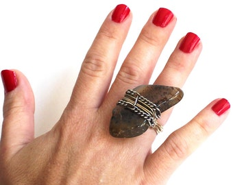 Speckled Stone Ring that Rocks size 5