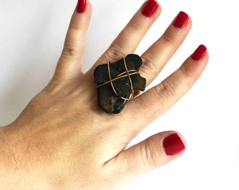 Stacked Petrified Wood Ring that Rocks size 8