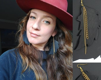 Black Leather Feather & Gold Chain Earrings / Sustainable Jewelry / Upcycled Handmade Earrings / Light Weight Large Earring / Cool Kids Gift