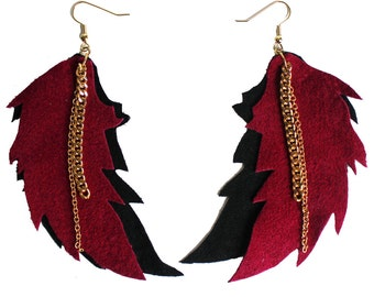 Burgundy Leather Feather Earrings with Gold Tone Chain