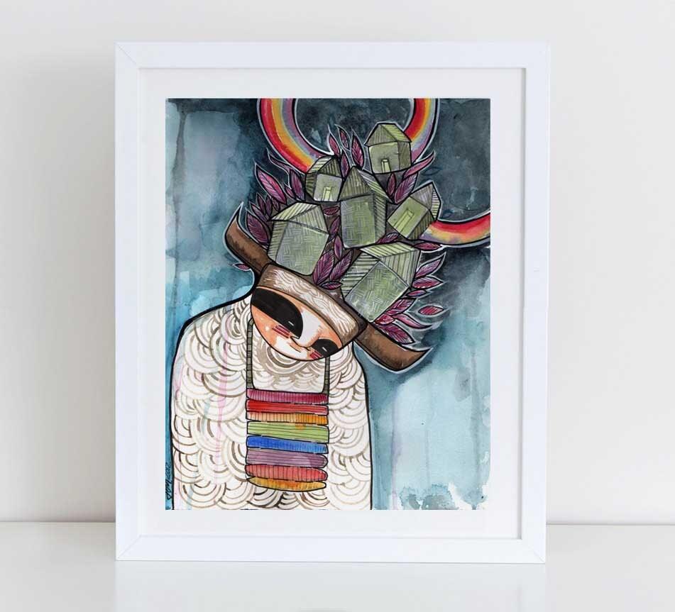 Rainbow Warrior-american Indian Kachina Art Print