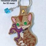 Goose Flerken Cat Embroidered Glitter Vinyl Keychain, Key Chain, Snap Tab, Fob, Purse Charm, Luggage Tag, Accessory