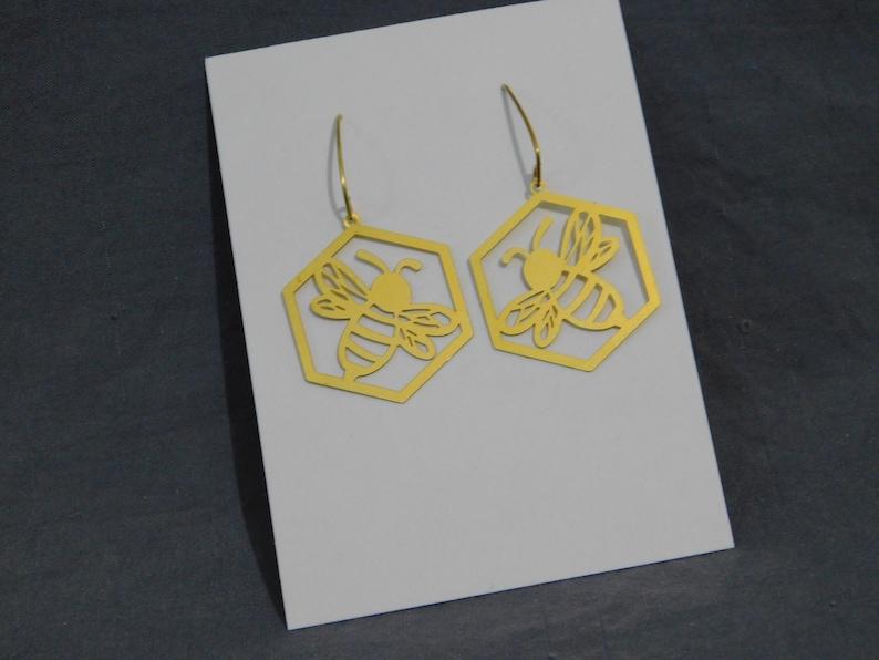 Bee Honeycomb Raw Brass Earrings Elf leaf raw brass ear wires Boho Bohemian Art Deco Art Nouveau geometric Nature Woodland cut out