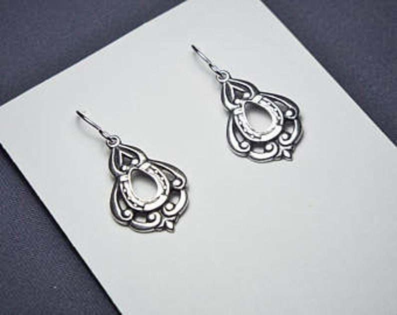 Lucky Horse Shoe Earrings Art Nouveau Victorian Teardrop Sterling silver plated charms Sterling silver ear wires USA Made in America