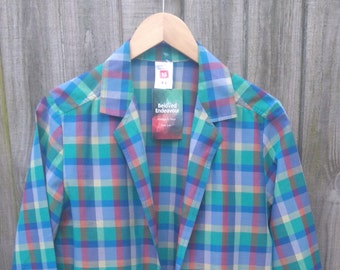 Vintage size 16 Plus Size Madras Check Lightweight Jacket 1980s