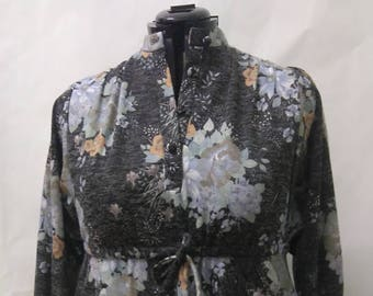 Vintage Size UK14 Warm Grey Dress with Tie Waist Plus Size