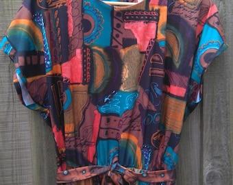 Vintage Size 18 Plus Size Brown and Blue Print Dress