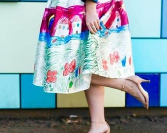 """23"""" long Designer Inspired Child's Drawing Skirt PLUS SIZE 18 20 22 24 26 28 30"""