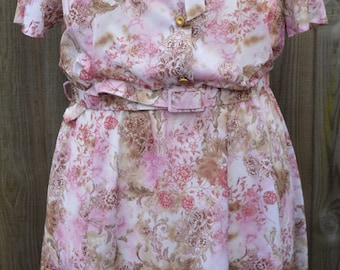 Vintage Size 22 Plus Size Dress Pink White