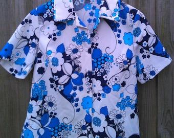 Vintage Size 18 20 Blue Printed Floral Blouse 1970s