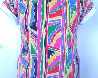 SPANKING NEW! Size 18 Cotton Jersey 90's Style Print Top