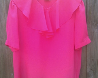 Vintage size 14 Pink Blouse with Frill