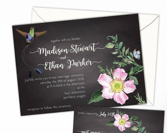 Chalkboard Floral Hummingbird Wedding or Elopement Invitation,Eloped Party or Reception, Event Invitation, Party Invitation, Response Cards