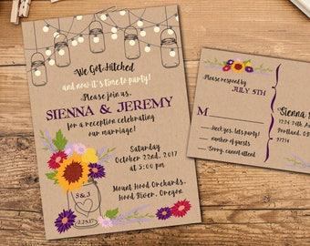 Rustic Mason Jar Wildflowers Elopement Invitation Suite, Wedding Reception Invitation, Response Postcards,Event Invitation, Party Invitation