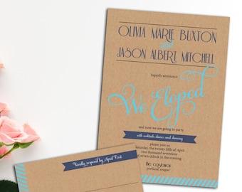 Modern Elopement Reception Invitation, Wedding Invitation, response cards, Flourish Font Wedding Invitation,Simple Wedding Invite