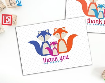 Fox Family Thank You Cards, Folded Baby Note Cards, Set of ten Personalized Cards, Fun Family Note Cards, Custom Note Cards, Thank you cards